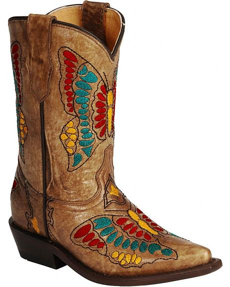 Corral Girls' Honey Butterfly Embroidered Cowgirl Boots - Snip Toe