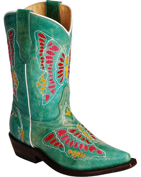 Corral Girls' Turquoise Butterfly Embroidered Cowgirl Boots - Snip Toe