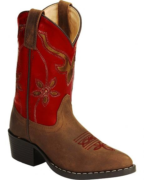 Smoky Mountain Children's Red Floral Cut Out Cowgirl Boots