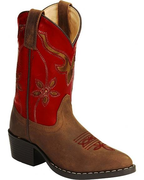 Smoky Mountain Youth Red Floral Cut Out Cowgirl Boots