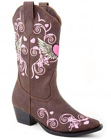 Roper Toddler Girls' Hearts & Wings Embroidered Cowgirl Boots