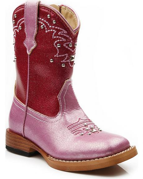 Roper Toddler Girls' Square Toe Metallic Stud Cowgirl Boots