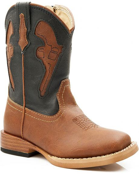 Roper Toddler Boys' Pistol Inlay Square Toe Cowboy Boots