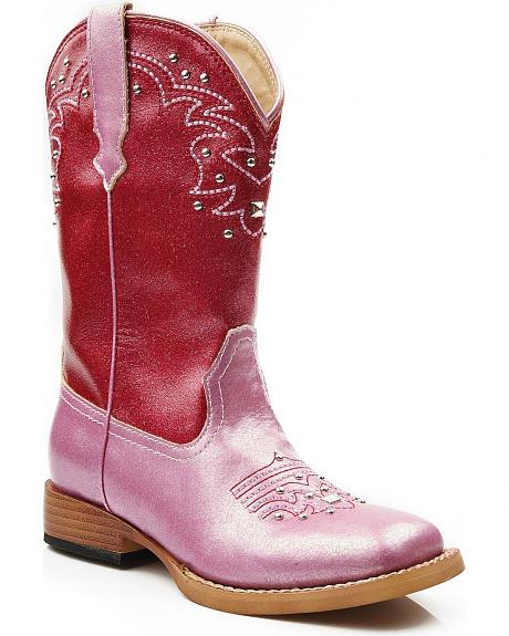 Roper Girls' Shiny Sequin Studded Cowgirl Boots