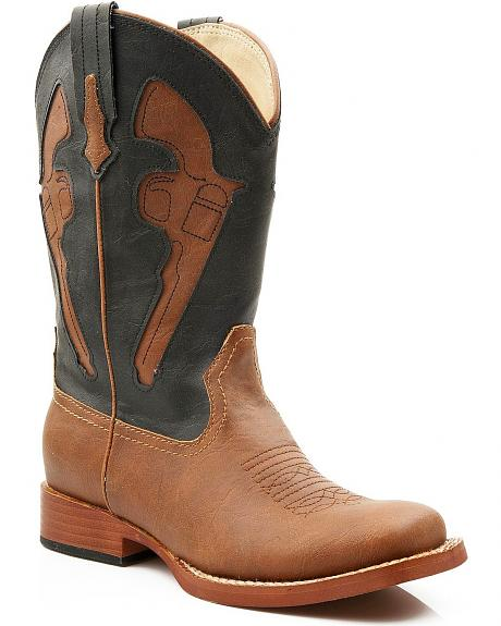 Roper Boys' Inlay Pistol Square Toe Cowboy Boots