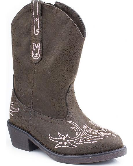 Roper Toddler Girls' Western Stitched with Crystals Cowgirl Boots