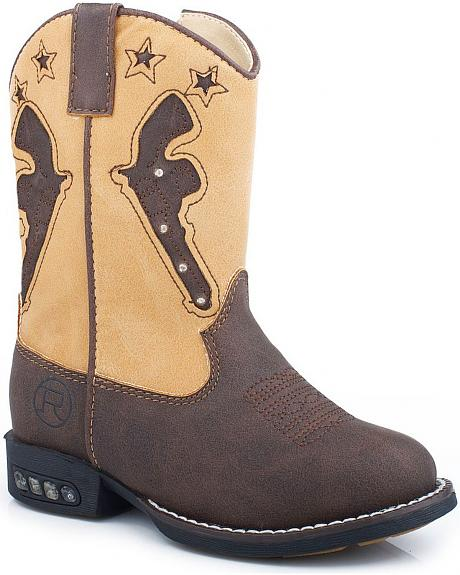 Roper Toddler Boys' Pistol Inlay with Light Up Sole Cowboy Boots