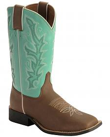 Justin Youth Turquoise Shaft Cowboy Boots - Square Toe