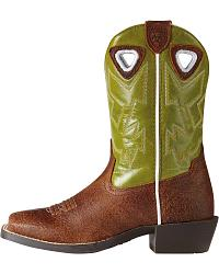 Ariat Youth Charger Roughed Cognac/Raptor Green at Sheplers