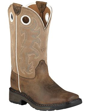 Ariat Child Distressed Workhog Boots - Square Toe