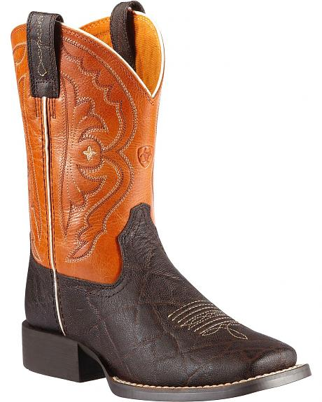 Ariat Boys' Quickdraw Chocolate Elephant Print Cowboy Boots