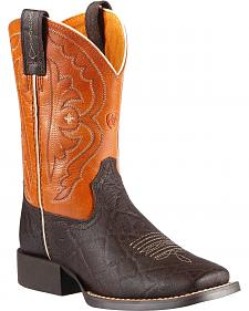 Ariat Boys' Quickdraw Chocolate Elephant Print Cowboy Boots - Square Toe
