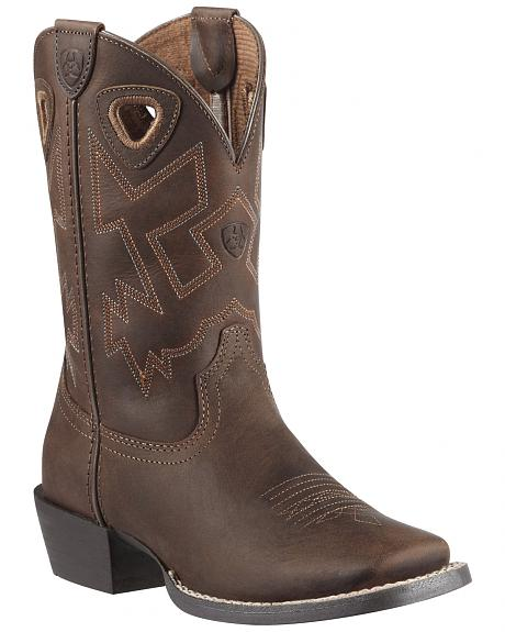 Ariat Boys' Charger Distressed Cowboy Boots - Square Toe