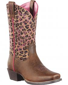 Ariat Girls' Legend Distressed Leopard Print Boots