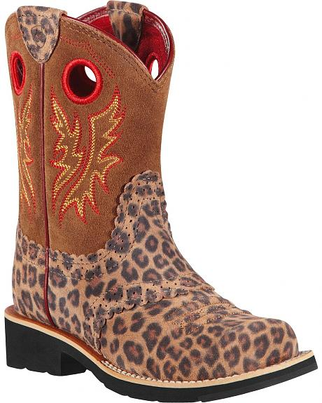 Ariat Children's Tan Leopard Print Fatbaby Cowgirl Boots