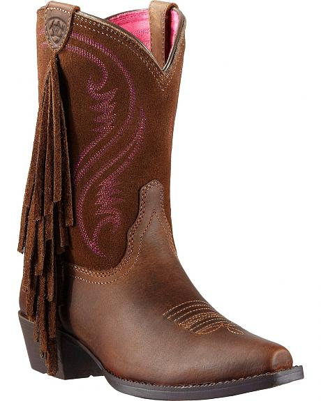Ariat Youth Girls' Fancy Fringe Cowgirl Boots - Snip Toe