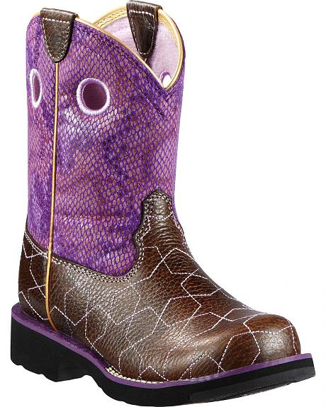 Ariat Youth Fatbaby Starstuck Purple Python Print Boots - Round Toe