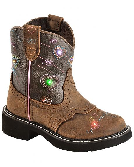 Justin Children's Gypsy Light Up Heart Embroidered Cowgirl Boots - Round Toe