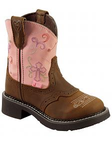 Justin Girls' Gypsy Light Up Cross Embroidered Cowgirl Boots
