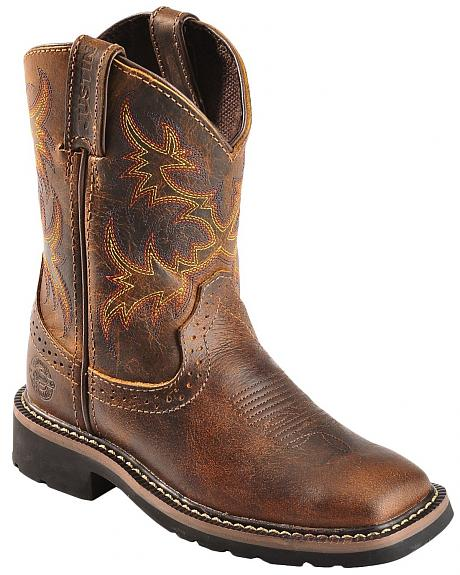 Justin Boys' Stampede Work Boots - Square Toe
