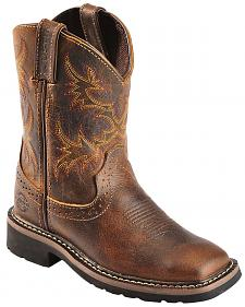 Justin Youth Boys' Stampede Work Boots - Square Toe