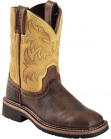 Justin Children's Stampede Work Boots - Square Toe