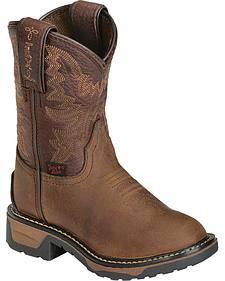 Tony Lama Boys' Crazy Horse Western Work Boots - Round Toe