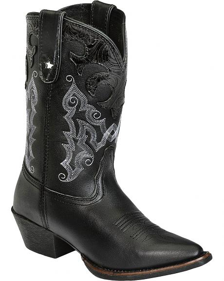 Tony Lama Youth Black Matador Vaquero Cowboy Boots - Pointed Toe