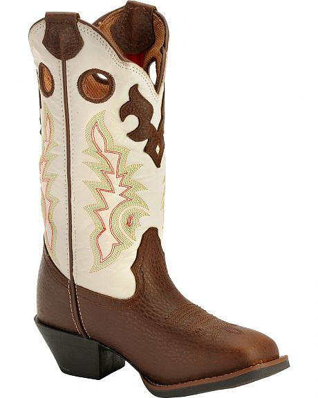 Tony Lama Youth Tiny Lama Beige Mustang 3R Cowboy Boots - Square Toe