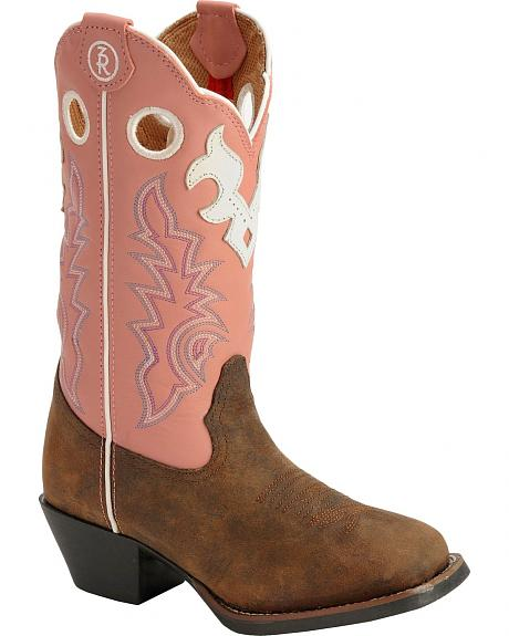 Tony Lama Youth Tiny Lama Timmerron Pink 3R Cowgirl Boots - Square Toe