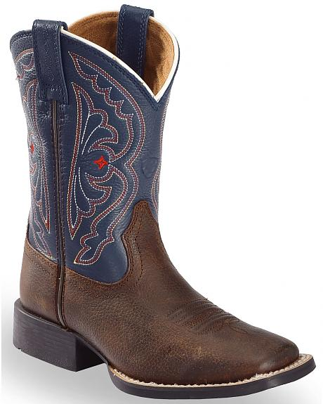 Ariat Youth Boys' Royal Blue Quickdraw Cowboy Boots - Square Toe