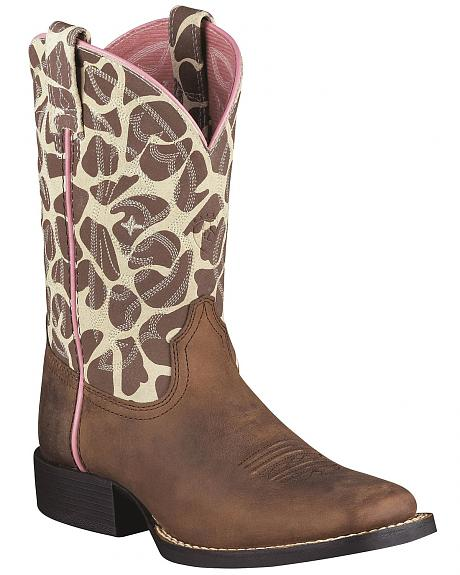 Ariat Girls' Animal Print Quickdraw Cowgirl Boots - Square Toe