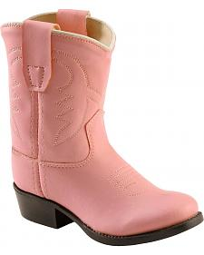 Old West Toddler Girls' Pink Vinyl Cowgirl Boots - Round Toe