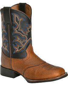 Justin Youth Boys' Mahogany Black Cowboy Boots - Square Toe