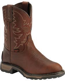 Tony Lama Boys' Briar Pitstop Western Work Cowboy Boots - Round Toe