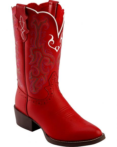 Justin Youth Red Cowgirl Boots - Round Toe