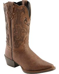 Justin Mustang Cow Youth Cowgirl Boots - Snip Toe at Sheplers