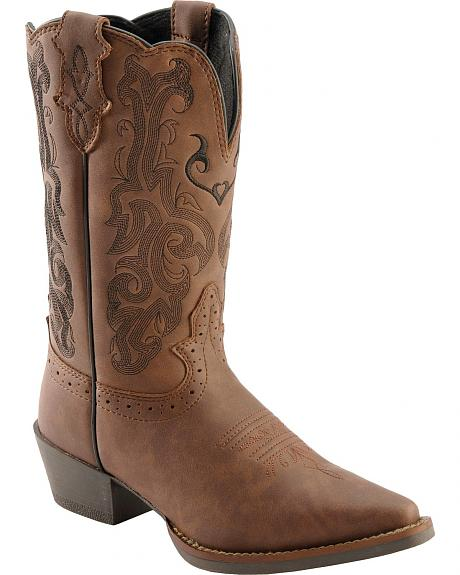 Justin Mustang Cow Youth Cowgirl Boots - Snip Toe