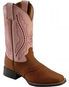 Justin Girls' Western Saddle Vamp Cowgirl Boots - Square Toe