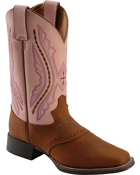 Justin Youth Western Saddle Vamp Cowgirl Boots - Square Toe