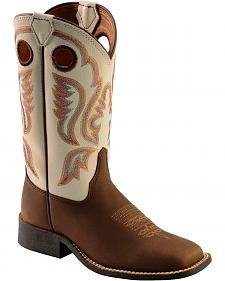 Justin Children's Chocolate Embroidered Cowboy Boots - Square Toe