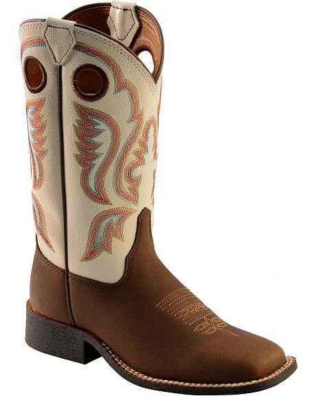 Justin Youth Boys' Chocolate Embroidered Cowboy Boots - Square Toe
