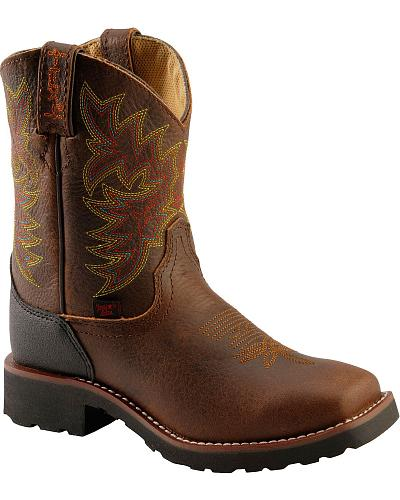 Tony Lama TLX Child Cow Bark Badger Cowboy Boots - Square Toe
