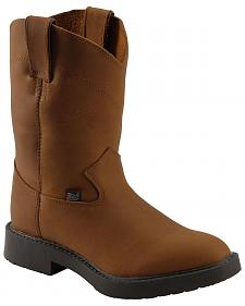 Justin Kids' Aged Bark Pull-On Work Boots - Round Toe