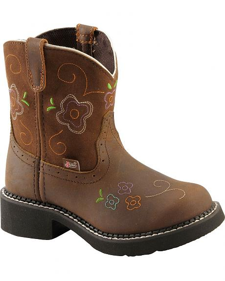 Justin Children's Floral Embroidered Cowhide Gypsy Cowgirl Boots - Round Toe