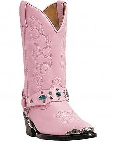 Laredo Girls' Little Concho Pink Harness Cowgirl Boots