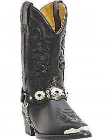 Laredo Boys' Little Concho Black Harness Cowboy Boots - Round Toe