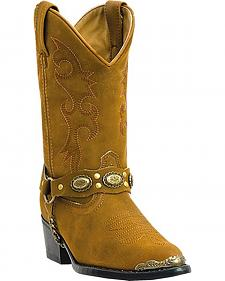 Laredo Girls' Little Concho Tan Harness Cowboy Boots - Round Toe