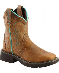 Justin Children's Tan Western Cowgirl Boots - Square Toe