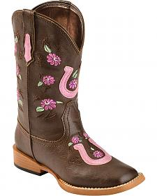 Roper Girls' Metallic Horseshoe Applique Cowgirl Boots - Square Toe